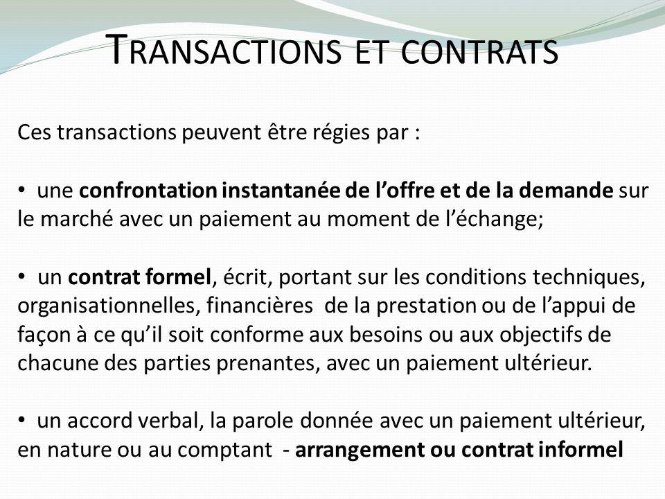 Transactions et contrats