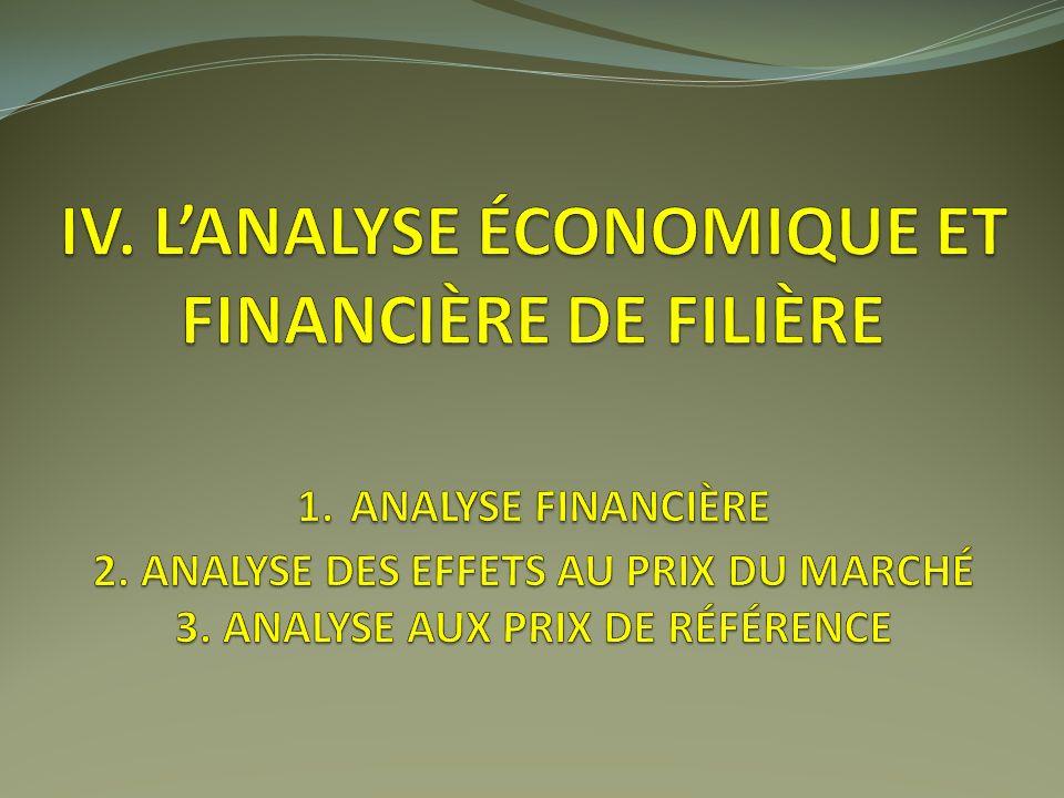 IV. L'analyse économique et financière de filière 1