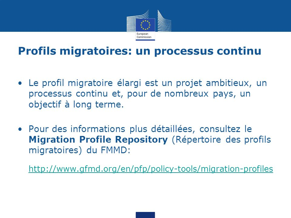 Profils migratoires: un processus continu