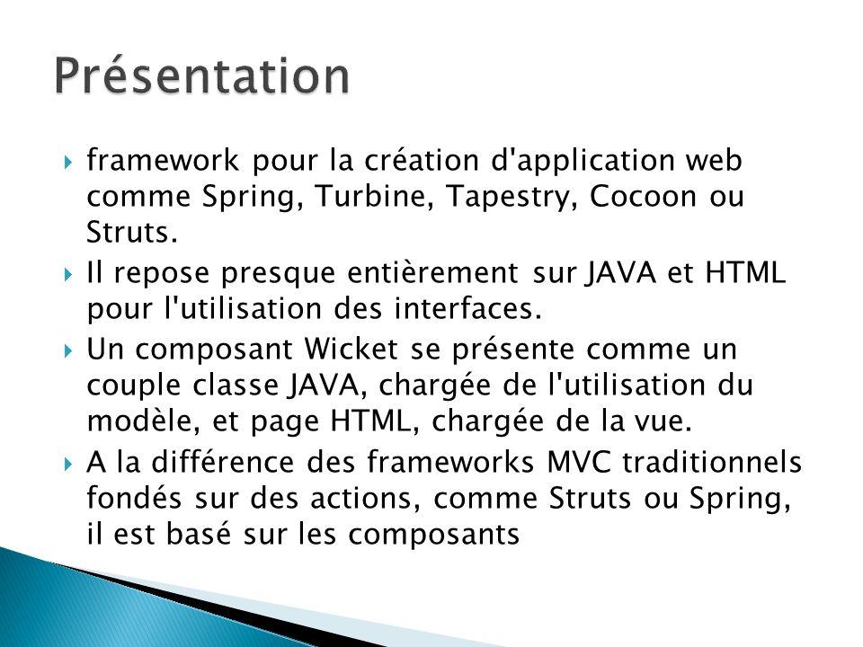 Présentation framework pour la création d application web comme Spring, Turbine, Tapestry, Cocoon ou Struts.