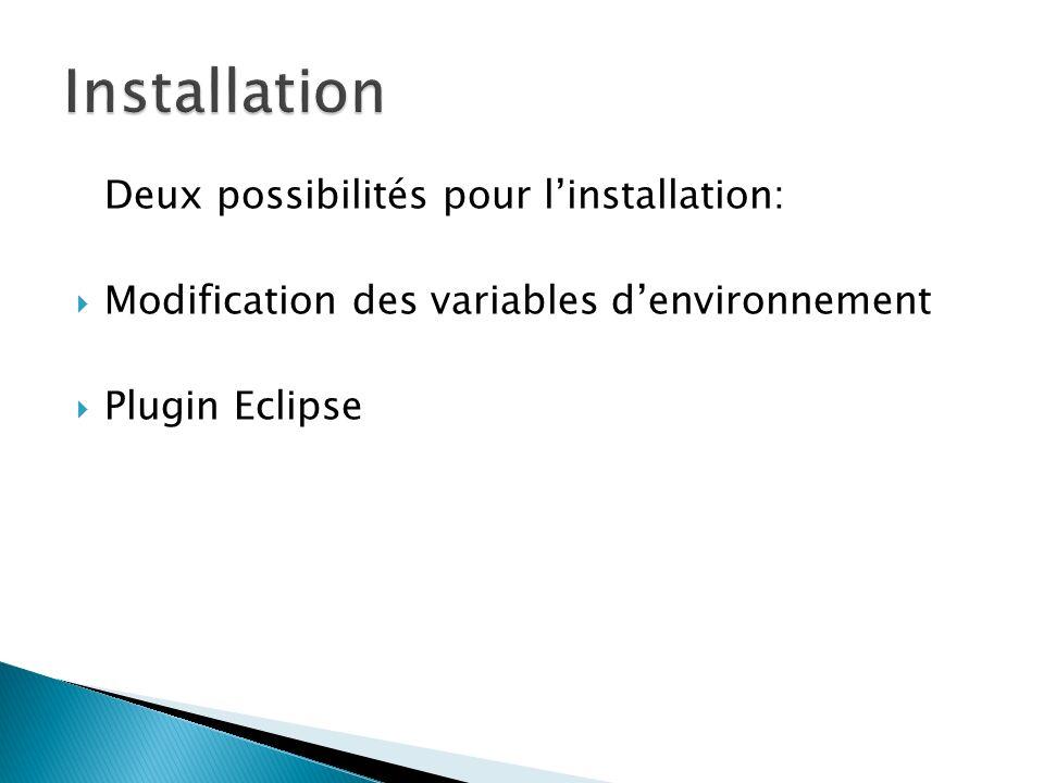 Installation Deux possibilités pour l'installation: