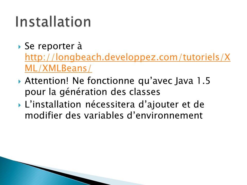Installation Se reporter à http://longbeach.developpez.com/tutoriels/X ML/XMLBeans/