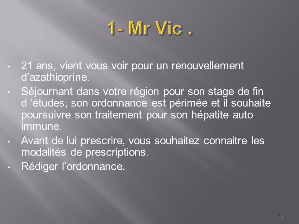 1- Mr Vic . 21 ans, vient vous voir pour un renouvellement d'azathioprine.