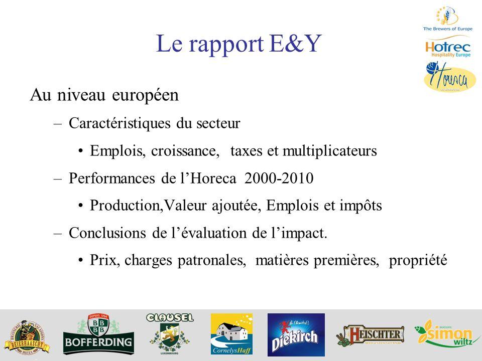 Le rapport E&Y Au niveau européen Caractéristiques du secteur
