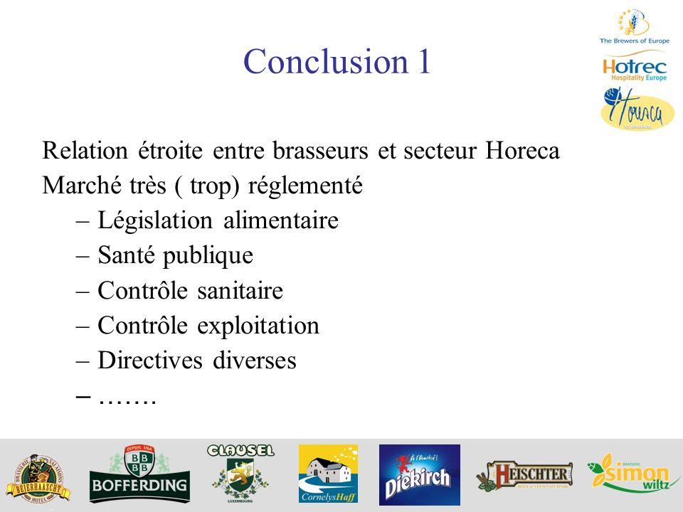 Conclusion 1 Relation étroite entre brasseurs et secteur Horeca