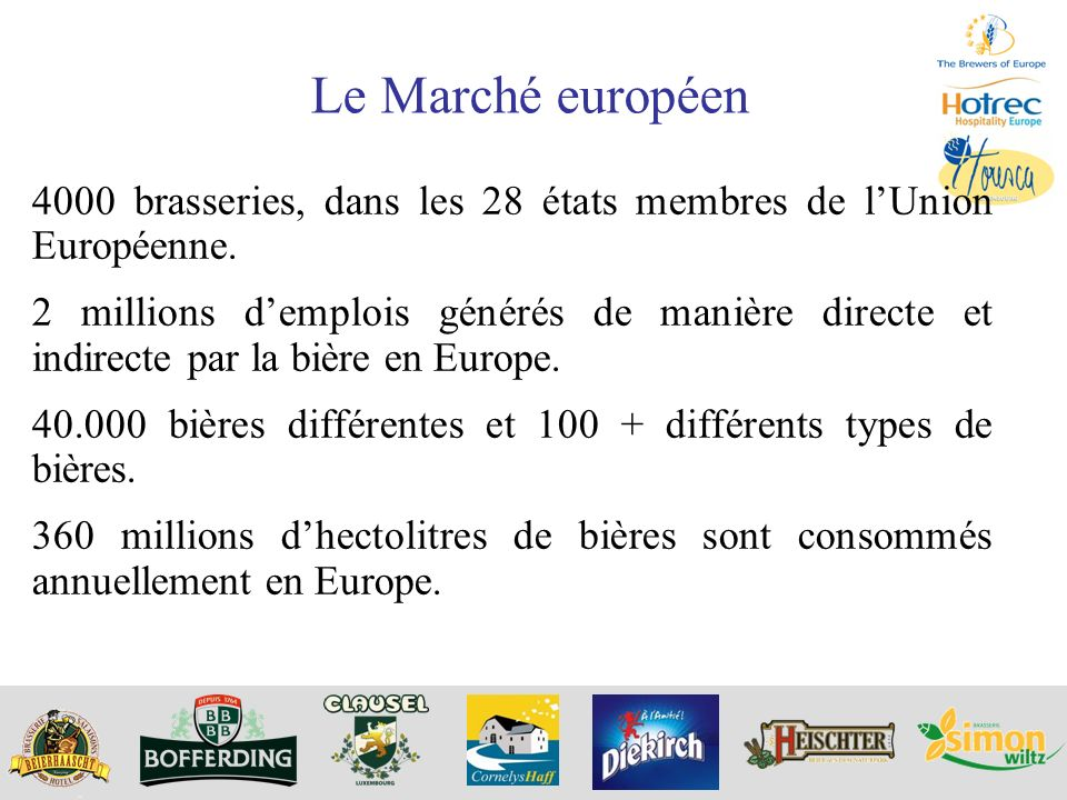 Le Marché européen 4000 brasseries, dans les 28 états membres de l'Union Européenne.