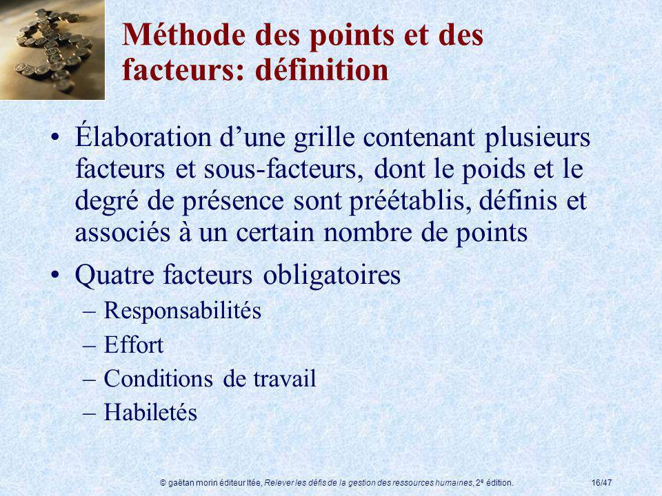 Méthode des points et des facteurs: définition