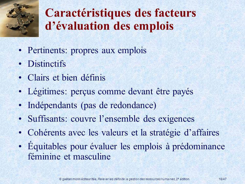 Caractéristiques des facteurs d'évaluation des emplois