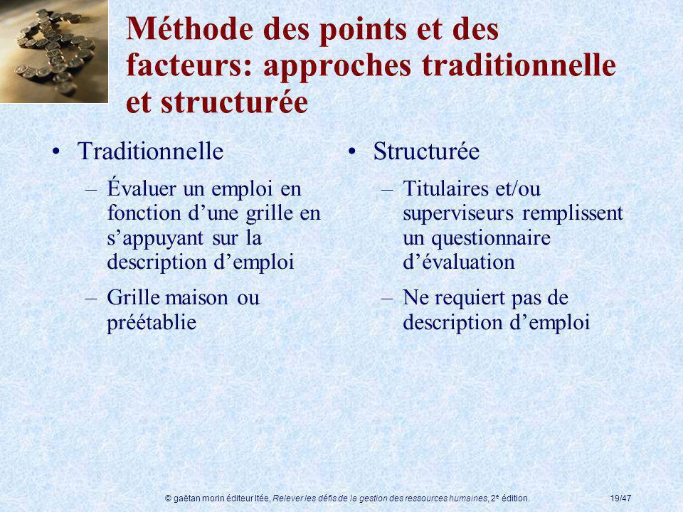 Méthode des points et des facteurs: approches traditionnelle et structurée