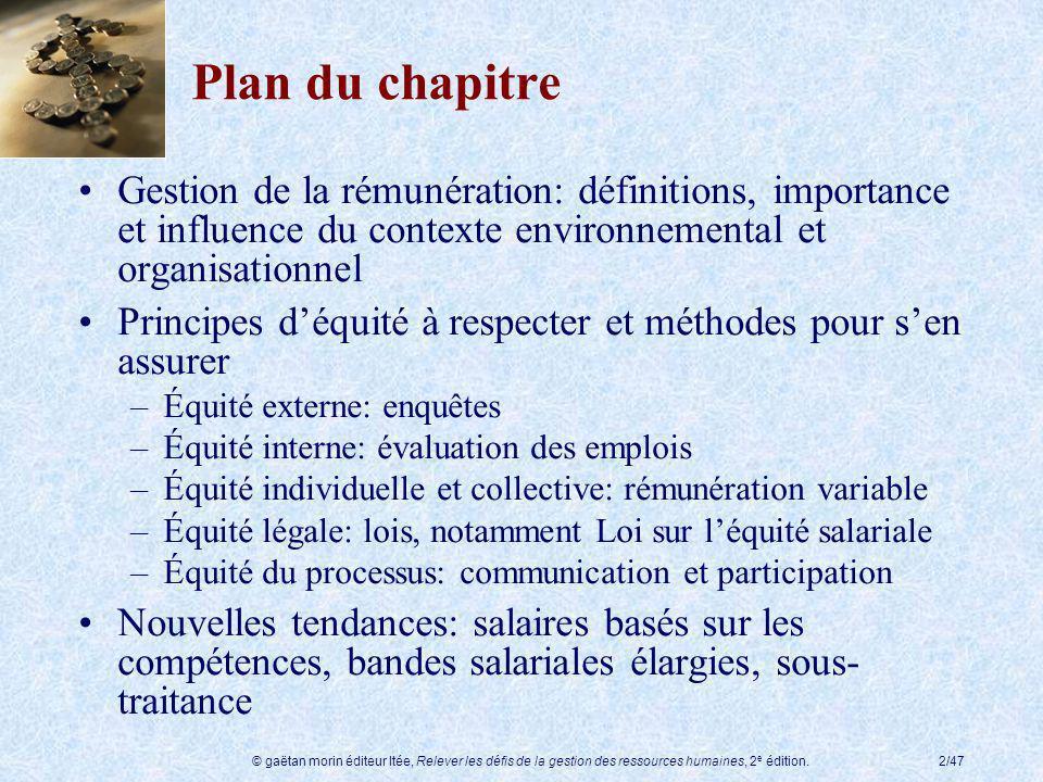 Plan du chapitre Gestion de la rémunération: définitions, importance et influence du contexte environnemental et organisationnel.