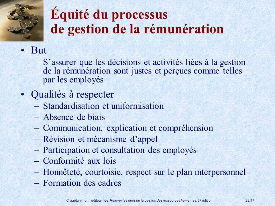 Équité du processus de gestion de la rémunération