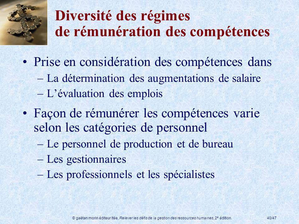 Diversité des régimes de rémunération des compétences