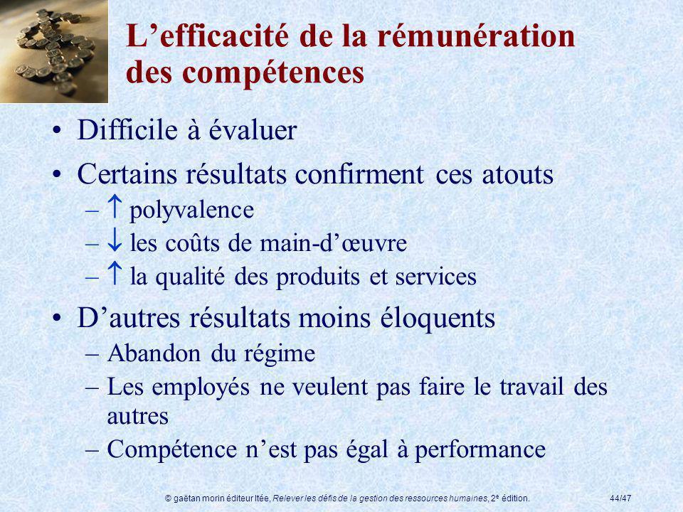 L'efficacité de la rémunération des compétences