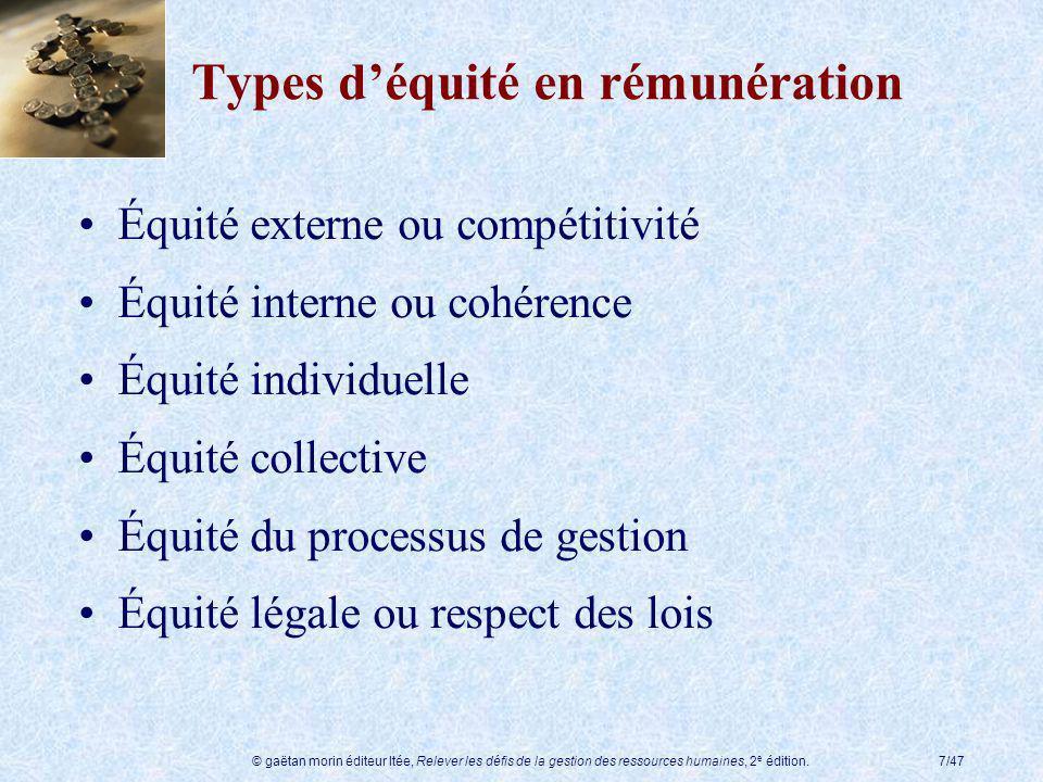 Types d'équité en rémunération