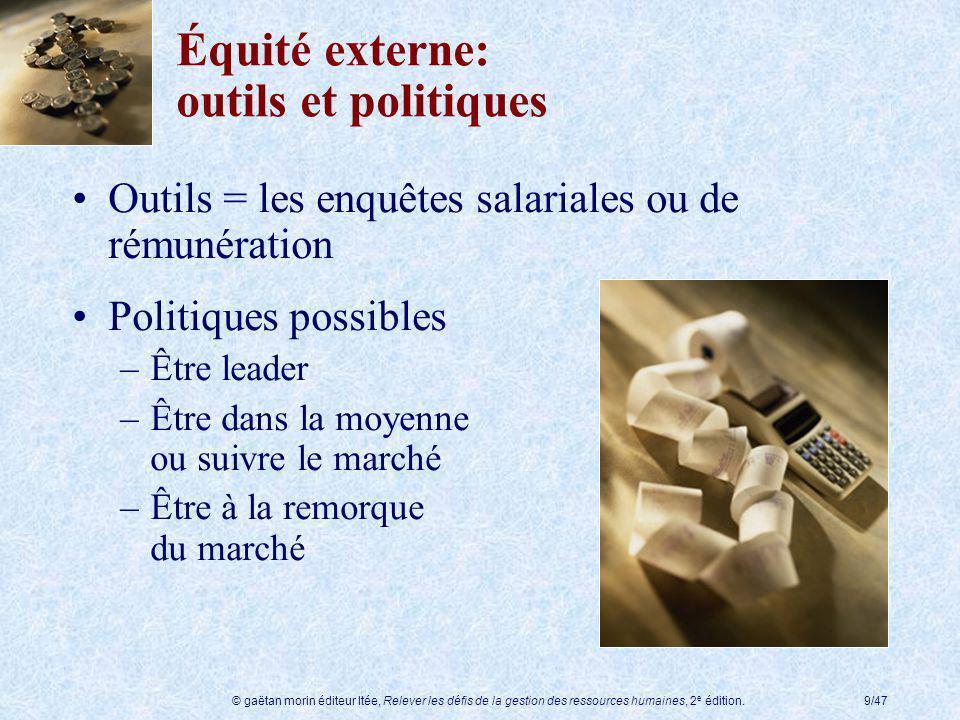 Équité externe: outils et politiques
