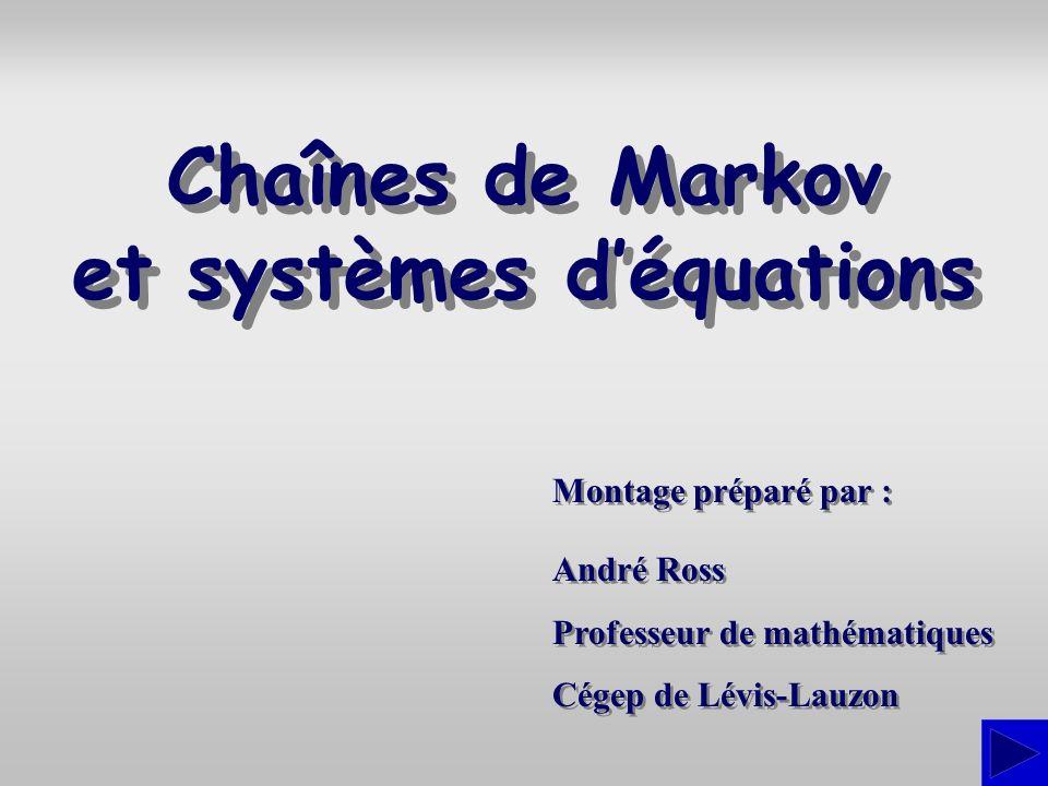 Chaînes de Markov et systèmes d'équations