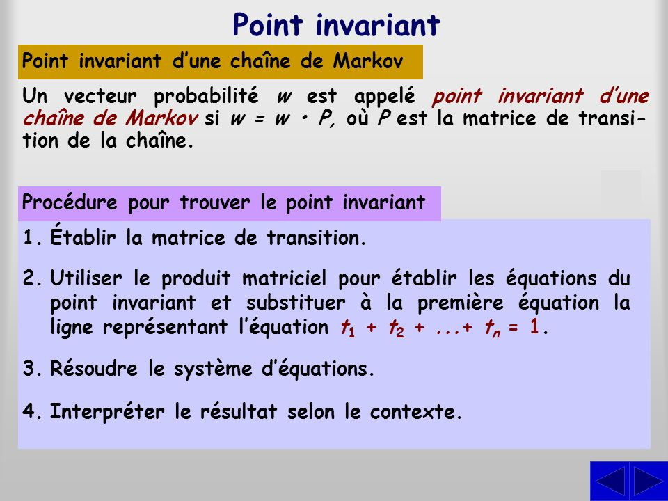 Point invariant S Point invariant d'une chaîne de Markov