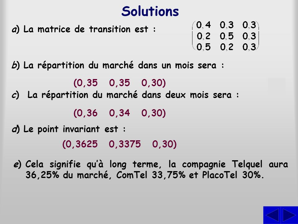 Solutions S S S S a) La matrice de transition est :