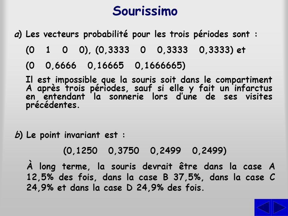 Sourissimo a) Les vecteurs probabilité pour les trois périodes sont :