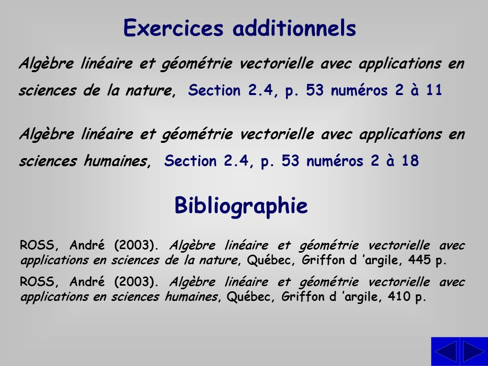 Exercices additionnels