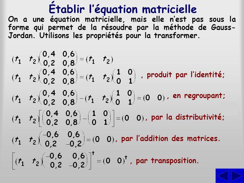 Établir l'équation matricielle