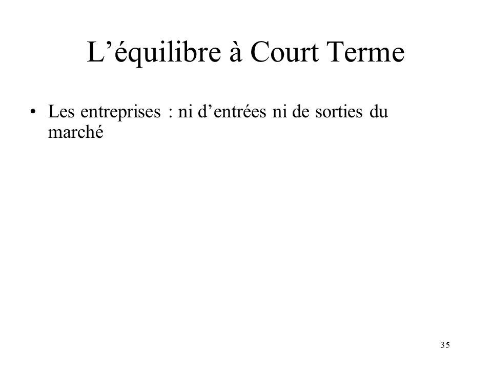 L'équilibre à Court Terme