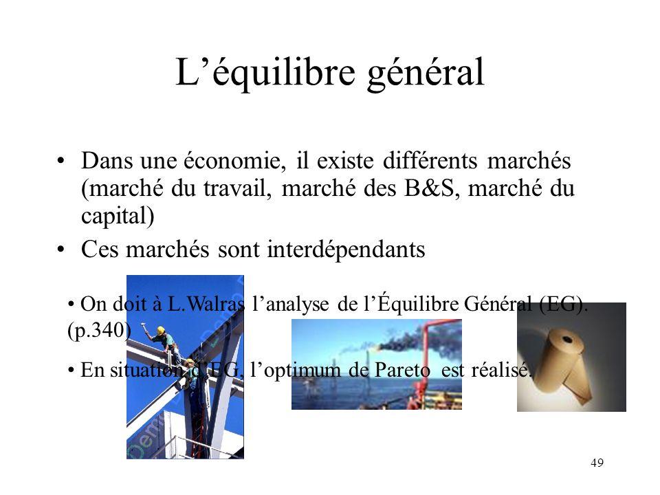 L'équilibre général Dans une économie, il existe différents marchés (marché du travail, marché des B&S, marché du capital)