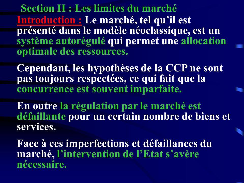 Section II : Les limites du marché