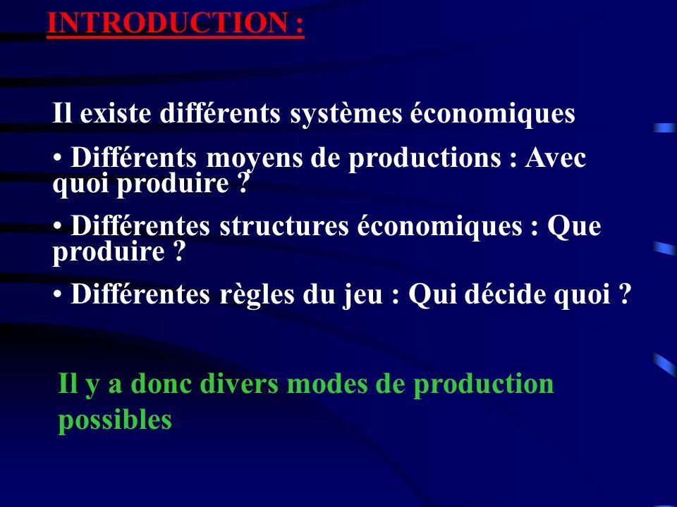 INTRODUCTION : Il existe différents systèmes économiques. Différents moyens de productions : Avec quoi produire