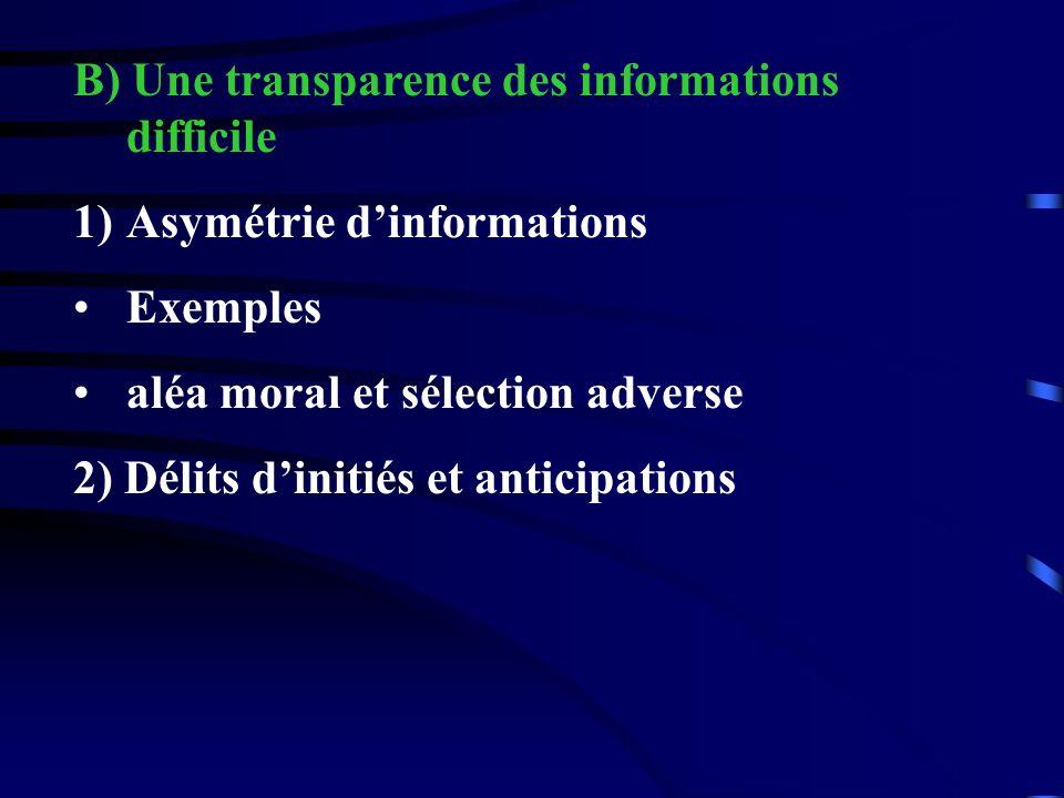 B) Une transparence des informations difficile