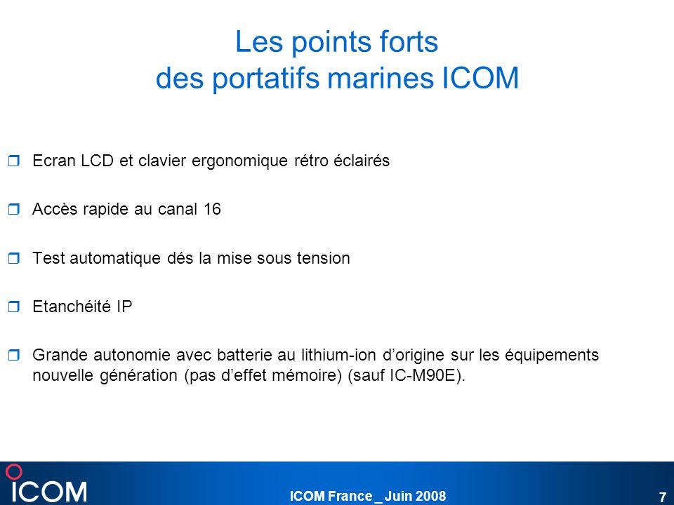 Les points forts des portatifs marines ICOM