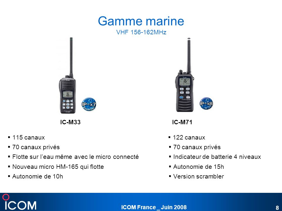 Gamme marine VHF 156-162MHz IC-M33 IC-M71  115 canaux  122 canaux