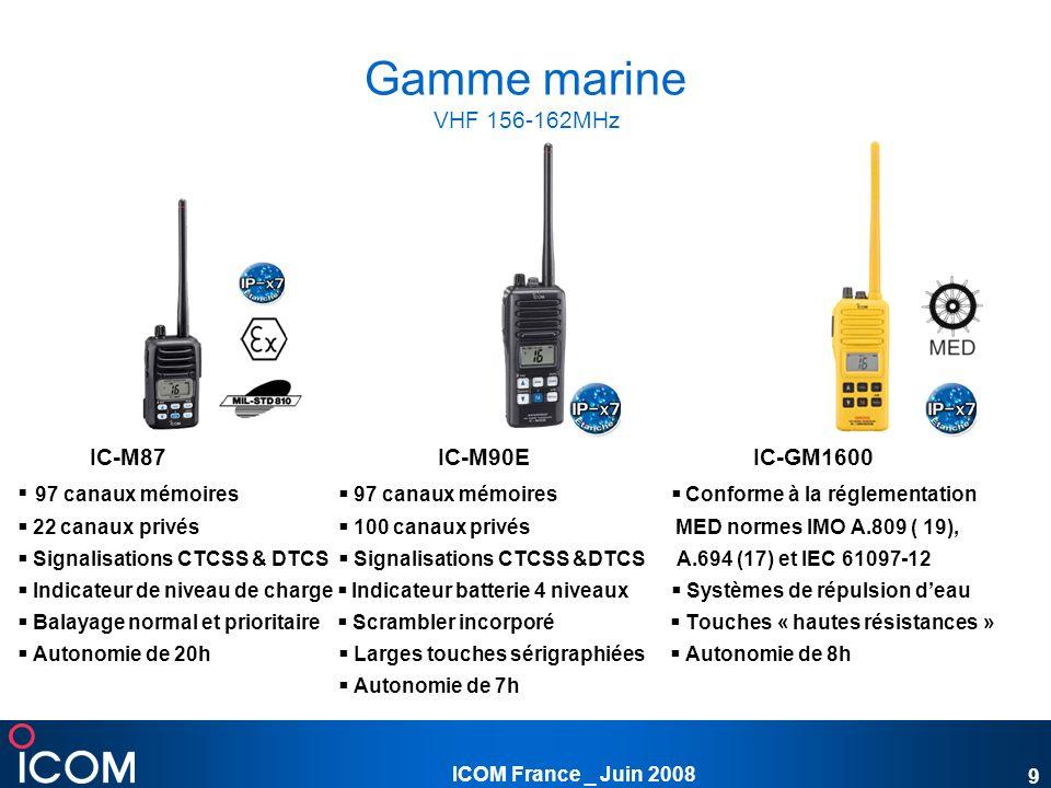 Gamme marine VHF 156-162MHz IC-M87 IC-M90E IC-GM1600