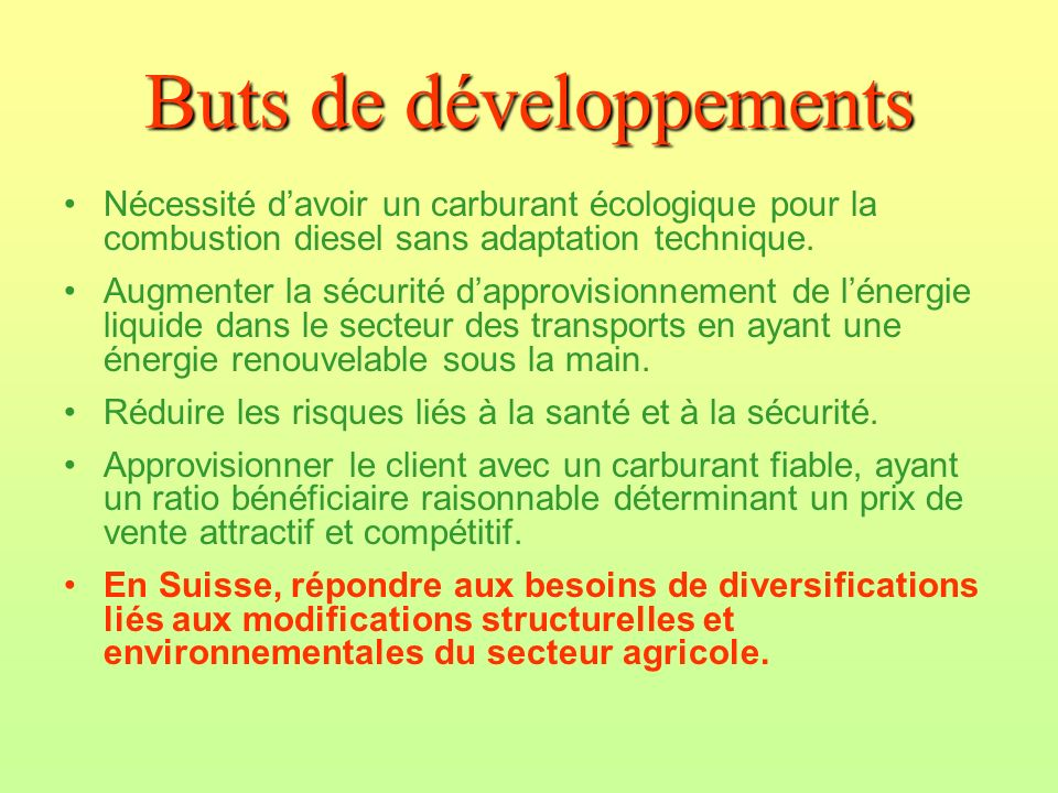 Buts de développements