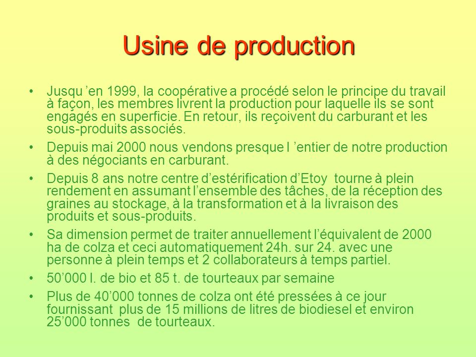 Usine de production