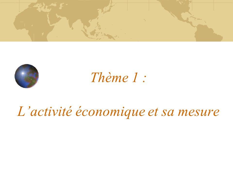 Thème 1 : L'activité économique et sa mesure