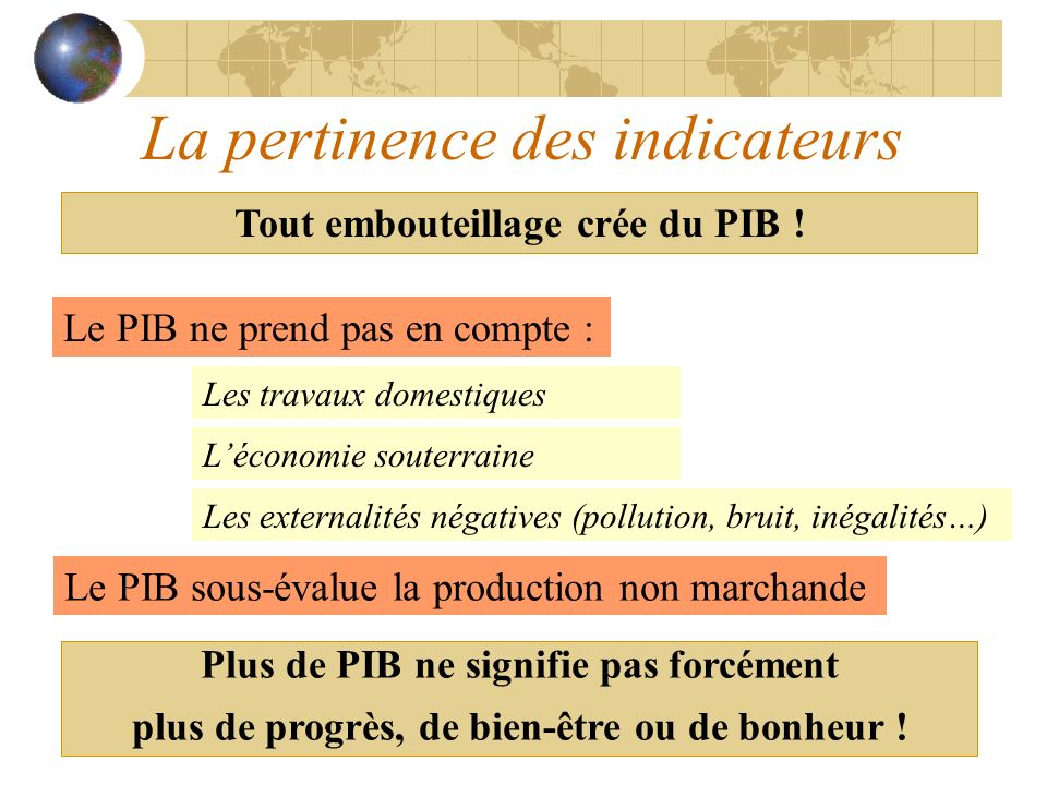 La pertinence des indicateurs