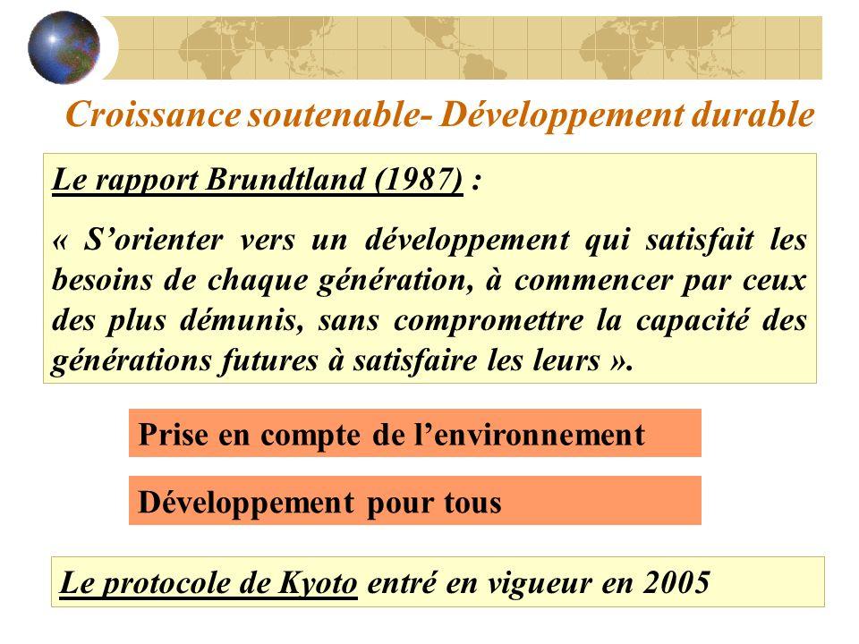Croissance soutenable- Développement durable