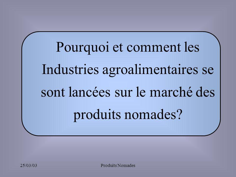 Pourquoi et comment les Industries agroalimentaires se sont lancées sur le marché des produits nomades