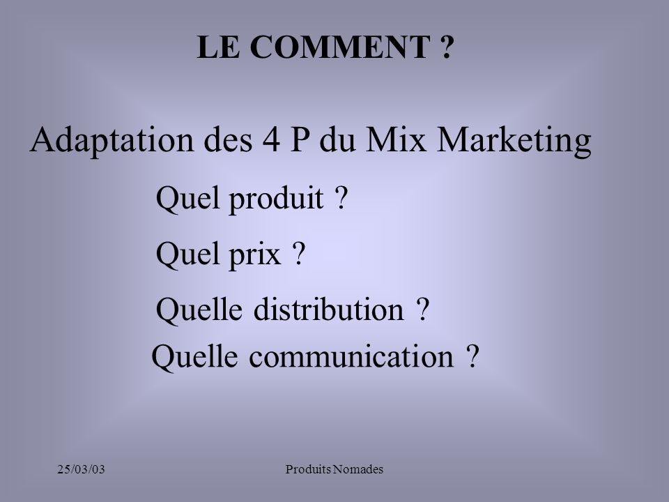Adaptation des 4 P du Mix Marketing