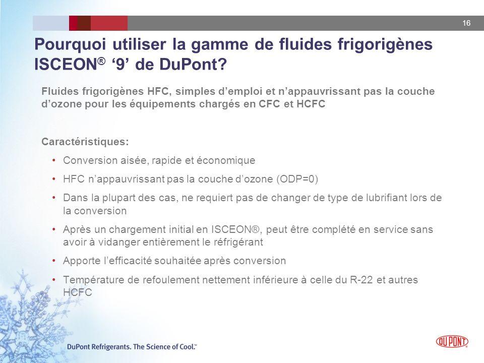 Pourquoi utiliser la gamme de fluides frigorigènes ISCEON® '9' de DuPont