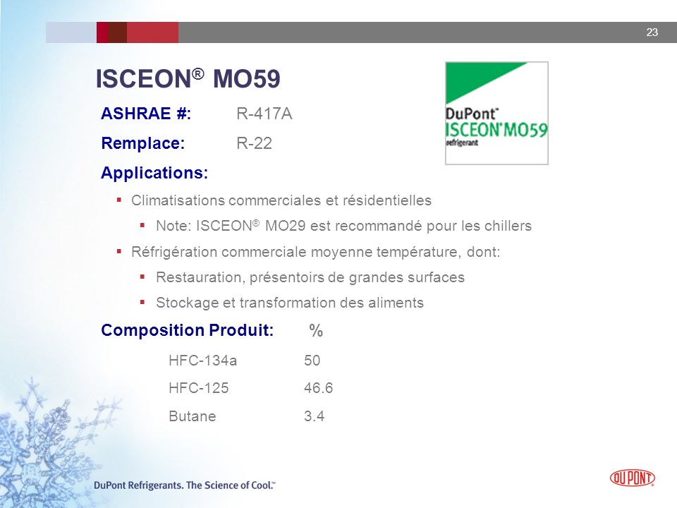 ISCEON® MO59 ASHRAE #: R-417A Remplace: R-22 Applications: