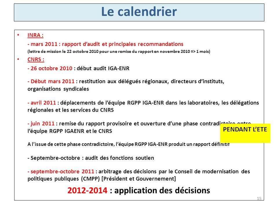 2012-2014 : application des décisions