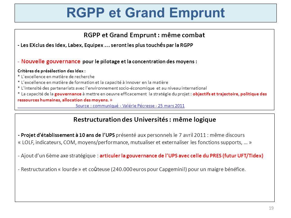 RGPP et Grand Emprunt RGPP et Grand Emprunt : même combat