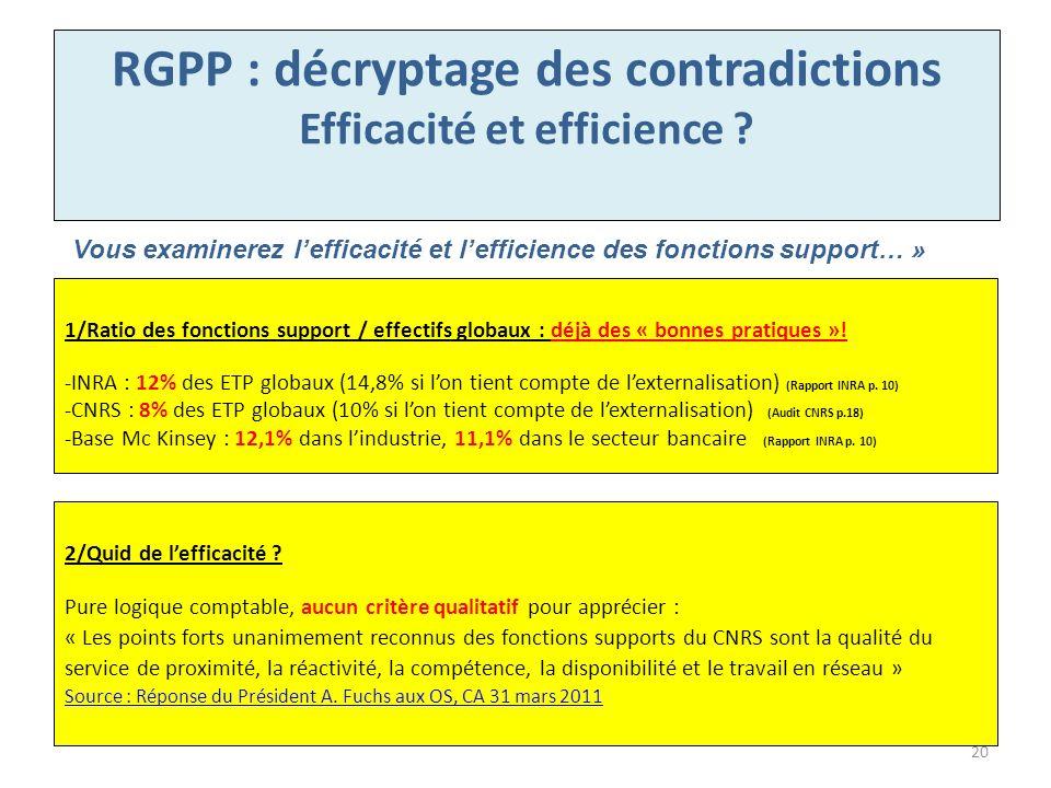 RGPP : décryptage des contradictions Efficacité et efficience