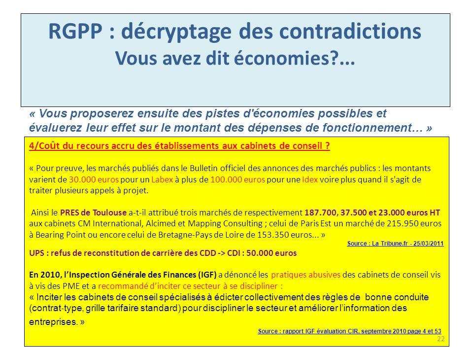 RGPP : décryptage des contradictions Vous avez dit économies ...
