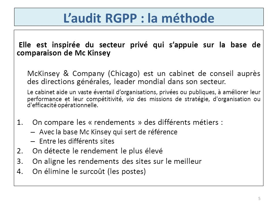 L'audit RGPP : la méthode
