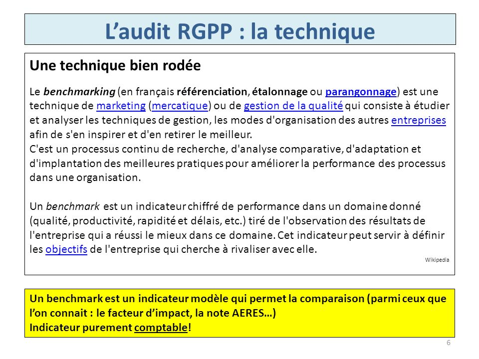 L'audit RGPP : la technique