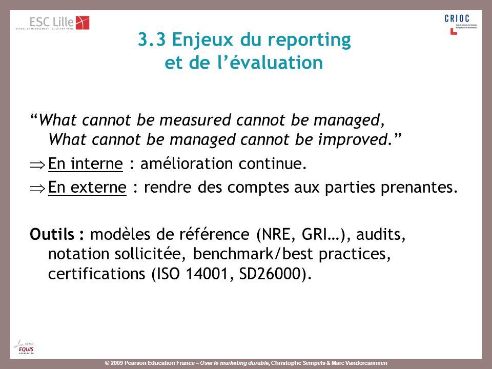 3.3 Enjeux du reporting et de l'évaluation