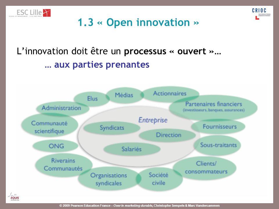 1.3 « Open innovation » L'innovation doit être un processus « ouvert »… … aux parties prenantes